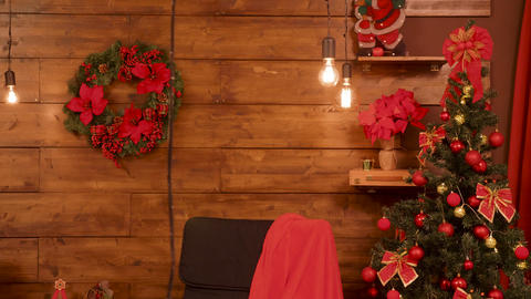 Red Christmas room with decoration elements Footage