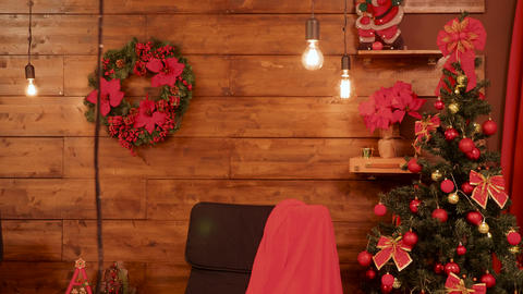 Room with gorgeous red Christmas decorations Footage