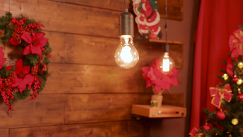 Close up shot of lamps hanging from the wall in beautiful Christmas decoration Footage