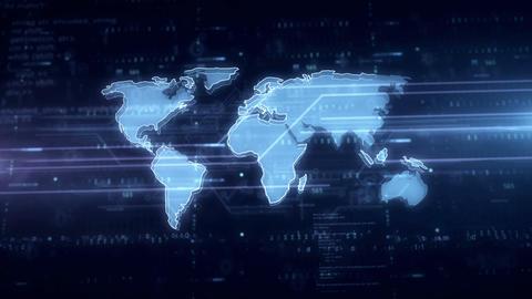 Cyber security world blue hologram Animation