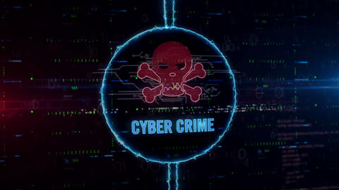 Cyber crime hologram in electric circle Animation