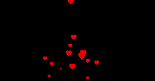 red colorful hearts flying animation on black background, holiday happy new year and valentine day Footage
