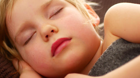 Close-up of face baby rest quietly without noise. Happiness in sleep Footage
