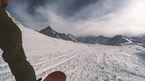 Snowboarding on a sunny day. POV Footage