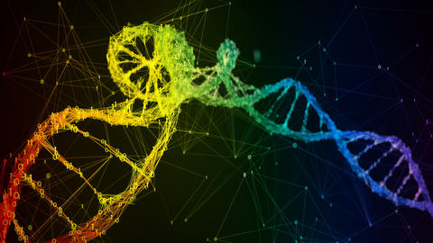 Iridescent rainbow binary Digital DNA molecule strand colorful Loop Background Animation
