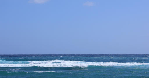 Soft waves at the blue ocean in Amami oshima Kagoshima sunny day Footage