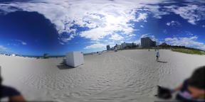 360 vr video of a colorful lifeguard tower in world famous South Beach VR 360° Video
