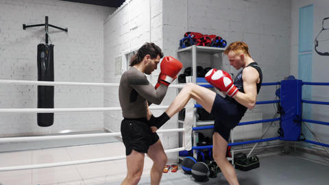 Fighter men in boxing gloves training punches on ring in sport club. Boxer man Footage