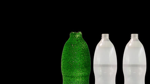 plastic PET bottles bio utilization 3d render PNG Animation