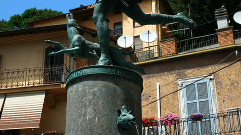 Diana fountain, Nemi village near Rome famous for its strawberries Footage
