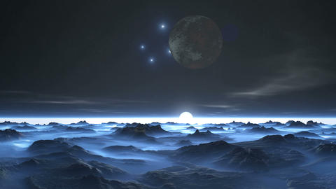 Moon and Stars over Alien Planet GIF