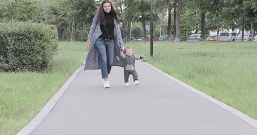 The child learns to walk Footage