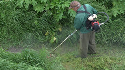 Gardener cutting green grass in garden, using manual gasoline lawn trimmer Footage