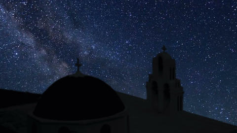 Santorini time lapse at night with stars Footage