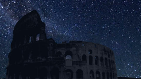 Colosseum silhouette with time lapse stars Footage