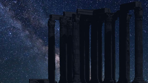 columns detail Acropolis time lapse at night with stars Footage