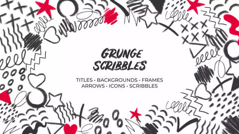 Grunge Scribbles. Hand Drawn Pack After Effects Template
