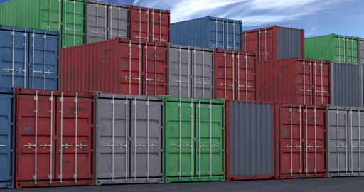 Stacks of cargo shipping containers seamless loop Animation