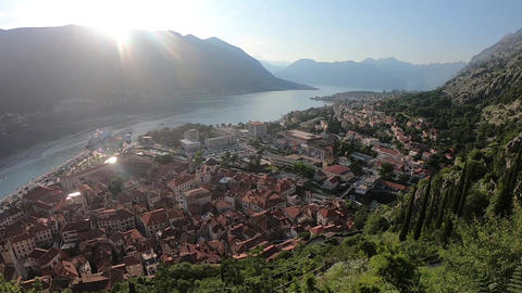 Montenegrin town from above in spring Footage