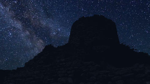 Nuraghe Orolo time lapse at night with stars Footage