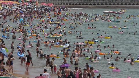 Many people swim in sea.swimming pool Stock Video Footage
