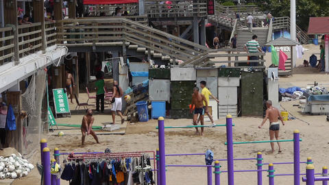 people playing beach volleyball on beach.timelapse Stock Video Footage