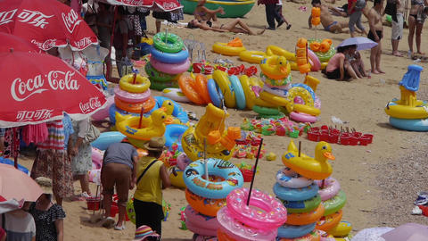 A lot of people at crowded bathing sandy beach.Many... Stock Video Footage