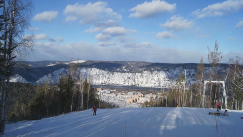 Ski Resort Divnogorsk 05 Stock Video Footage