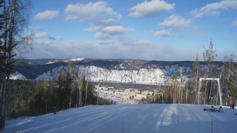 Ski Resort Divnogorsk 05 Stock Video Footage