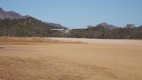 Small airplane landing Stock Video Footage