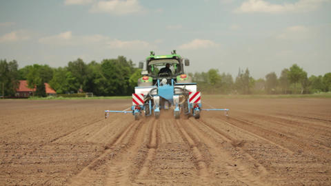 Tractor planting maize Footage