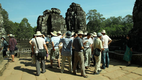 Tourists are visiting Bayon Temple in Angkor, Siem Reap in Cambodia Footage