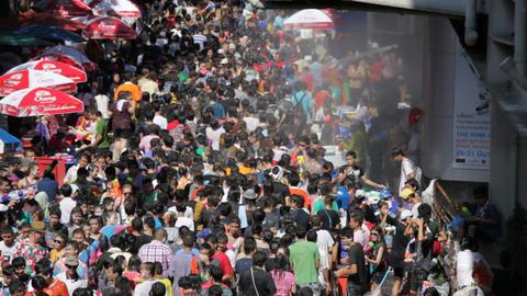 Songkran Water Festival in Bangkok, Thailand Stock Video Footage