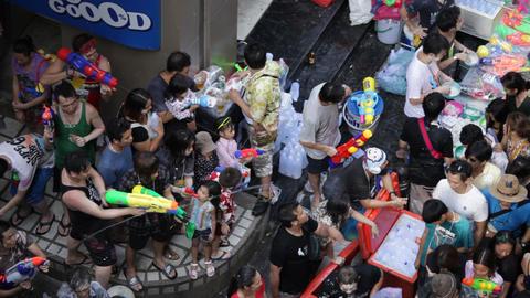 Songkran Water Festival in Bangkok, Thailand Footage