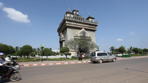 Patuxai in Vientiane, Laos Stock Video Footage