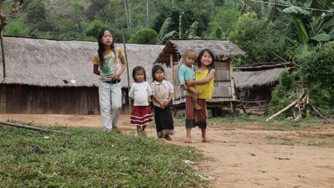 Hmong Ethnics Kids, Laos stock footage