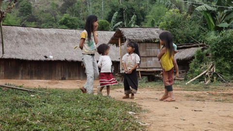 Hmong ethnics kids, Laos Stock Video Footage