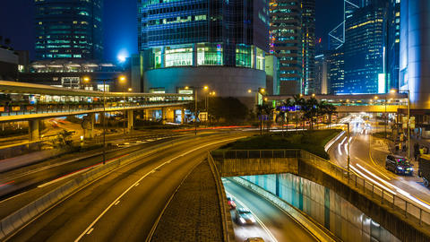 Traffic in Hong Kong at Night - Zoom effect Stock Video Footage