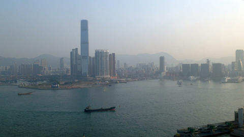 Pollution and Hong Kong Harbor Stock Video Footage