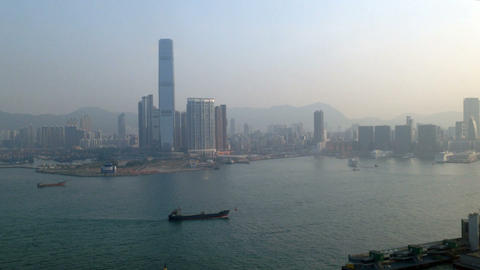 Pollution And Hong Kong Harbor stock footage