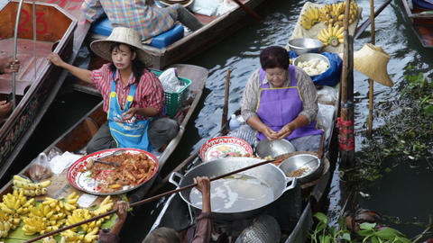 Floating Market in Thailand Stock Video Footage