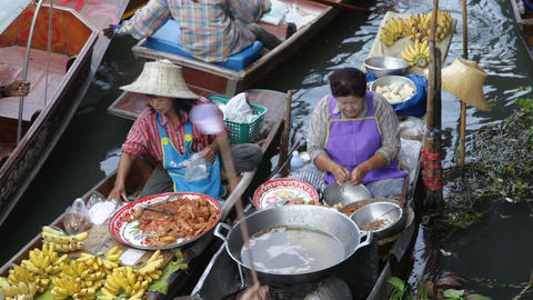 Floating Market in Thailand Footage