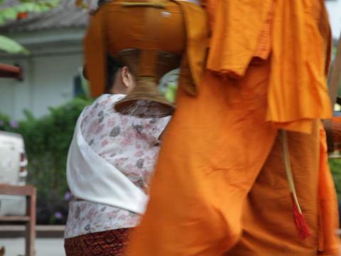 Monk Procession, Luang Prabang, Laos Stock Video Footage