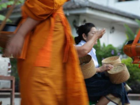 Monk Procession, Luang Prabang, Laos Footage