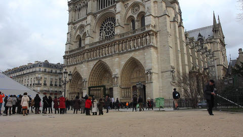 Paris - Notre Dame Cathedral Stock Video Footage