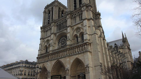 Paris - Notre Dame Cathedral Footage