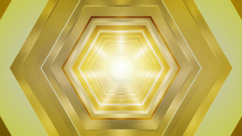 yellow hexagon tunnel Stock Video Footage