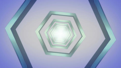 hexagon blue tunnel Stock Video Footage