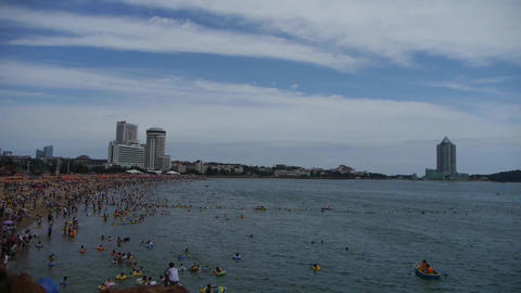 People swim in sea,A lot of people at crowded bathing... Stock Video Footage