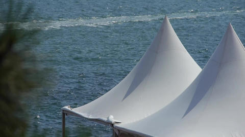 yacht traveling on water ripples surface & white... Stock Video Footage